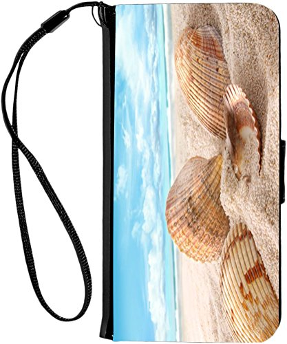 Rikki Knight Seashells in Sand on Beach Design iPhone 6 & 6s PU Wallet Flip Case with Kickstand and Magnetic Flap - Black from Rikki Knight