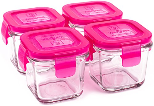 Wean Green Wean Cubes 4oz/120ml Baby Food Glass Containers - Raspberry (Set of 4)