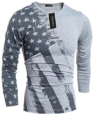 Zawapemia Mens American Flag Printed Long Sleeve Pullover Shirts