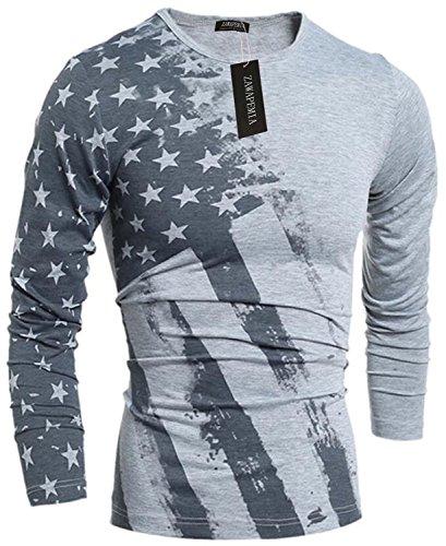 workout Products : Zawapemia Mens American Flag Printed Long Sleeve Pullover Shirts