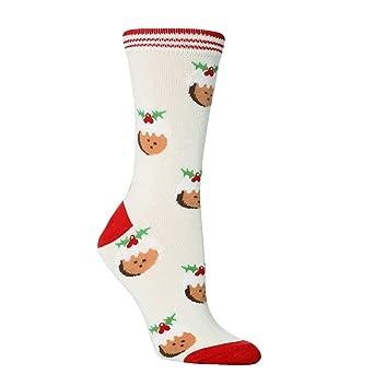 OverDose Ropa Unisex Calcetines Casual Mejor Regalo De Navidad De Dibujos Animados Lindo Impreso Grosor Piso Dormir Calcetines 1 Par (Estilo 1): Amazon.es: ...
