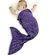 Funwill Mermaid Tail Blanket Knit Crochet for Baby Swaddling Sleeping Bag , for Baby Photo Photography (Purple) 35.4inx19.6in