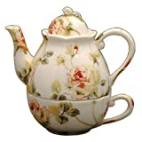 Gracie China by Coastline Imports Pink and Green Rose Porcelain 3-Piece Tea Set for 1