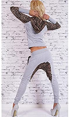 Ibagstyle Womens Leopard Long Sleeve Active Tracksuits Twinset Hooded Sweatshirt Sets