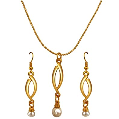 c612443034 Buy Surat Diamonds Drop Shape Real Pearl & Gold Plated Pendant with Chain &  Earring Set for Women (SDS144) Online at Low Prices in India | Amazon  Jewellery ...