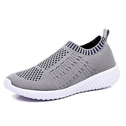 KONHILL Women's Lightweight Casual Walking Athletic Shoes Breathable Mesh Running Slip-On Sneakers, Gray, 45