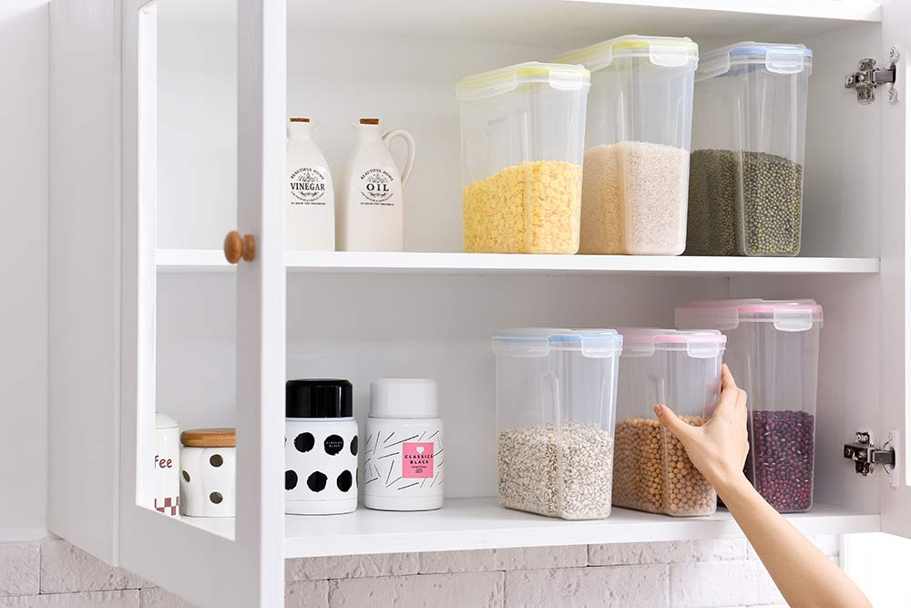 Cereal Container, Airtight Cereal Storage Containers - 4L 3pack Biokips with Leakproof Seal Lids - BPA free Plastic Dry Food Dispenser for Flour,Sugar,Rice,Pantry Kitchen Storage Containers Keeper