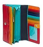 "Visconti Spectrum 36 Ladies Large Soft Leather Checkbook Wallet Purse 7"" x 4"" x 1 (Red Multi)"