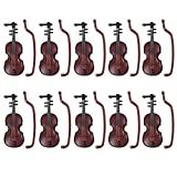 DINGJIN 10 Pcs 1:12 Dollhouse Miniature Violin Musical Instruments Collection With Pouch for DIY Decor Christams Gift