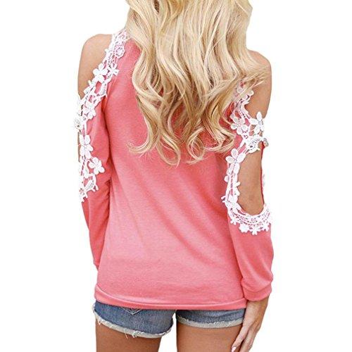 Wolfleague XXL paule S Shirts Taille ~ Grande Longue T Femmes Shirts Dentelle Manche Tunique en Femme Chemises Tops Chemisier Rose Casual Pull Blouse rH0w1r