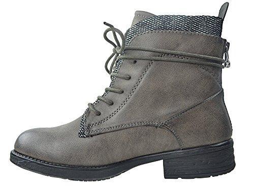 CAPRIUM Stiefeletten Worker Boots Schnürstiefel Schuhe Stiefel, Damen 000JA3119 Grau