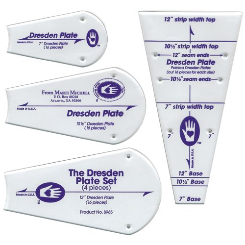 Perfect Patchwork Template-Dresden Plate, Package of Four (Corner Templates Rounded)