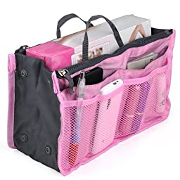 Housweety Women Travel Insert Handbag Purse Large liner Organizer Tidy Bag Pink