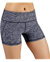 ODODOS Power Flex Yoga Short Tummy Control Workout Running Athletic Non See-Through Yoga Shorts with Hidden Pocket,NavyHeather,XX-Large