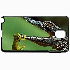 Customized Cellphone Case Back Cover For Samsung Galaxy Note 3, Protective Hardshell Case Personalized Frog Hanging From A Crocodile 15481 Black