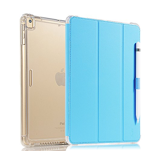 Valkit for iPad Air Case, iPad Air 2 Cover, New iPad 9.7 2017/2018 Case, Smart Stand Protective Heavy Duty Rugged Impact Resistant Armor Cover with Apple Pencil Holder,Light Blue