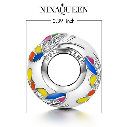 NinaQueen 925 Sterling Silver Colorful Butterfly Bead Charms Multicolor Enamel Charm for Bracelets Necklaces Birthday Anniversary Jewelry Gifts for Women