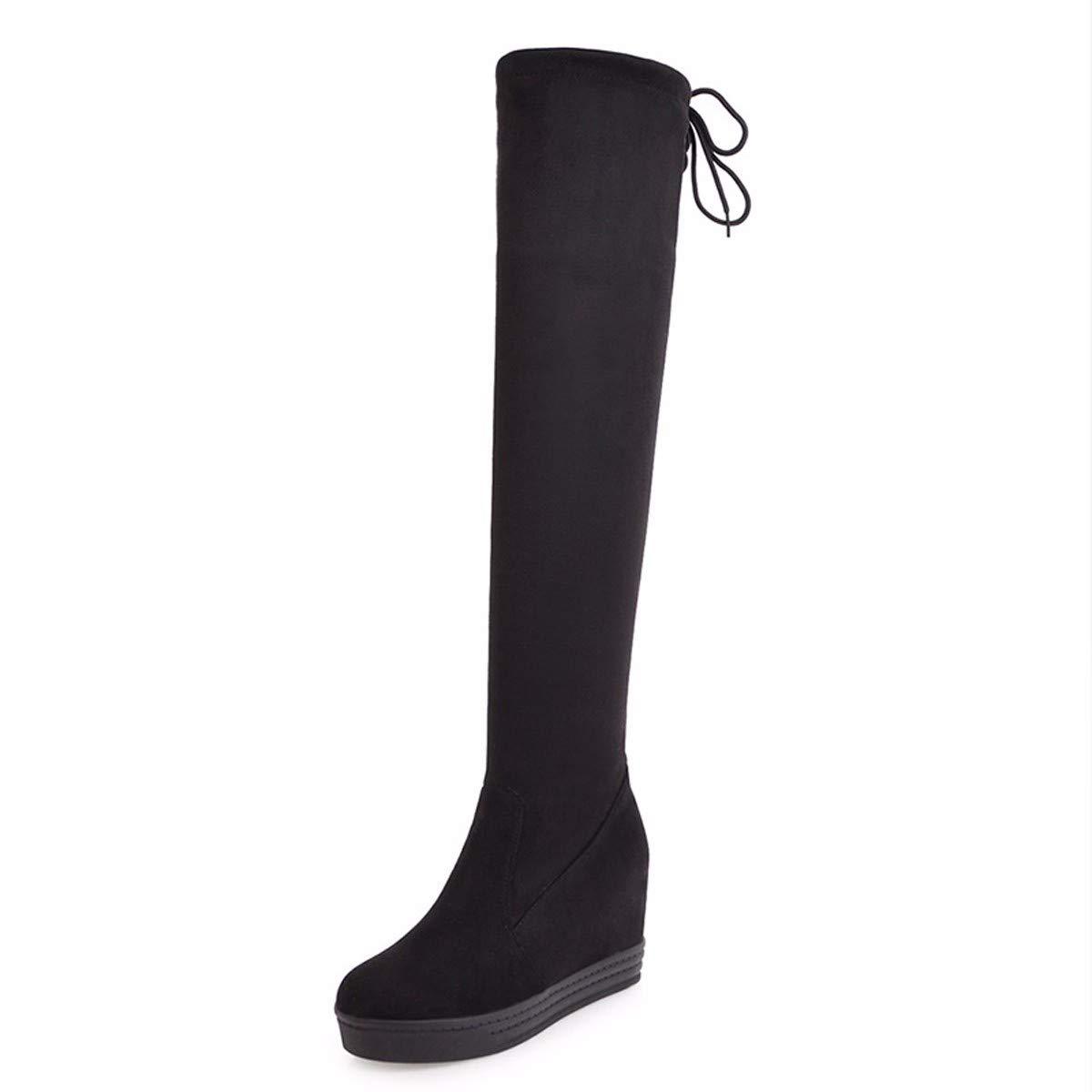 LBTSQ Damenschuhe Wasserdichte Plattform Dicke Hintern Heel 9Cm Elastische Schuhe Mode Schleif - Knie - Slim Hinten Spitzen Innere Erhöhen Stiefel