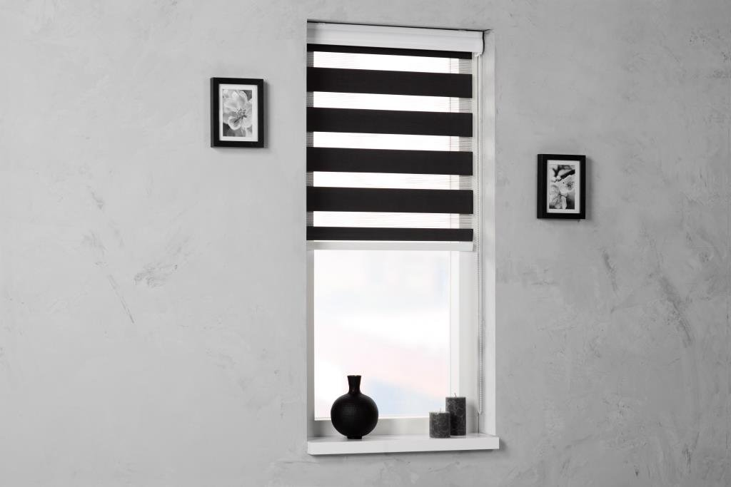 Doppelrollo Duorollo schwarz mit Blende - Breite & Länge wählbar