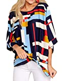 Dellytop Womens 3/4 Sleeve Tie Front Tops Loose Chiffon Blouses High Low Tee Shirts