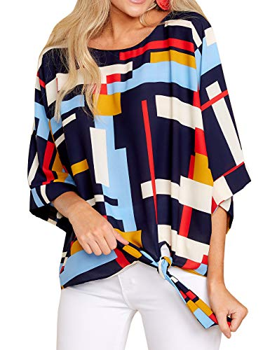 Dellytop Womens 3/4 Sleeve Tie Front Tops Loose Chiffon Blouses High Low Tee Shirts by Dellytop