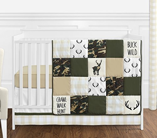 Sweet Jojo Designs Green - Sweet Jojo Designs Green and Beige Deer Buffalo Plaid Check Woodland Camo Baby Boy Crib Bedding Set Without Bumper - 4 Pieces - Rustic Camouflage