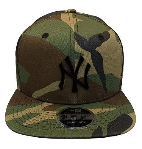 Newyork Yankees Army Camo Hat with Matte Black Metal Logo 950 High Crown Snapback -