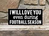 I will love you even during football season - 6''x12'' wood sign
