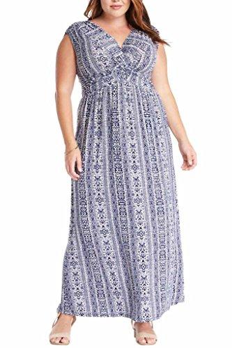 Women's Floral Print V Neck Knot Front Jersey Stretch Comfy Maxi Plus Dress USA BL 2XL