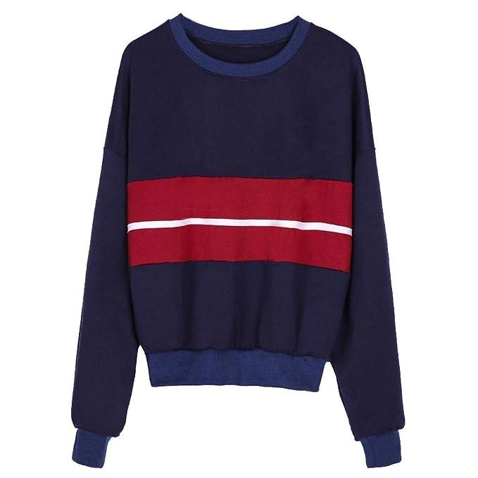 Sudaderas para mujer Hanomes Moda Mujer Lindo Patchwork Remata Jersey Suelto suéter Blusa: Amazon.es: Ropa y accesorios