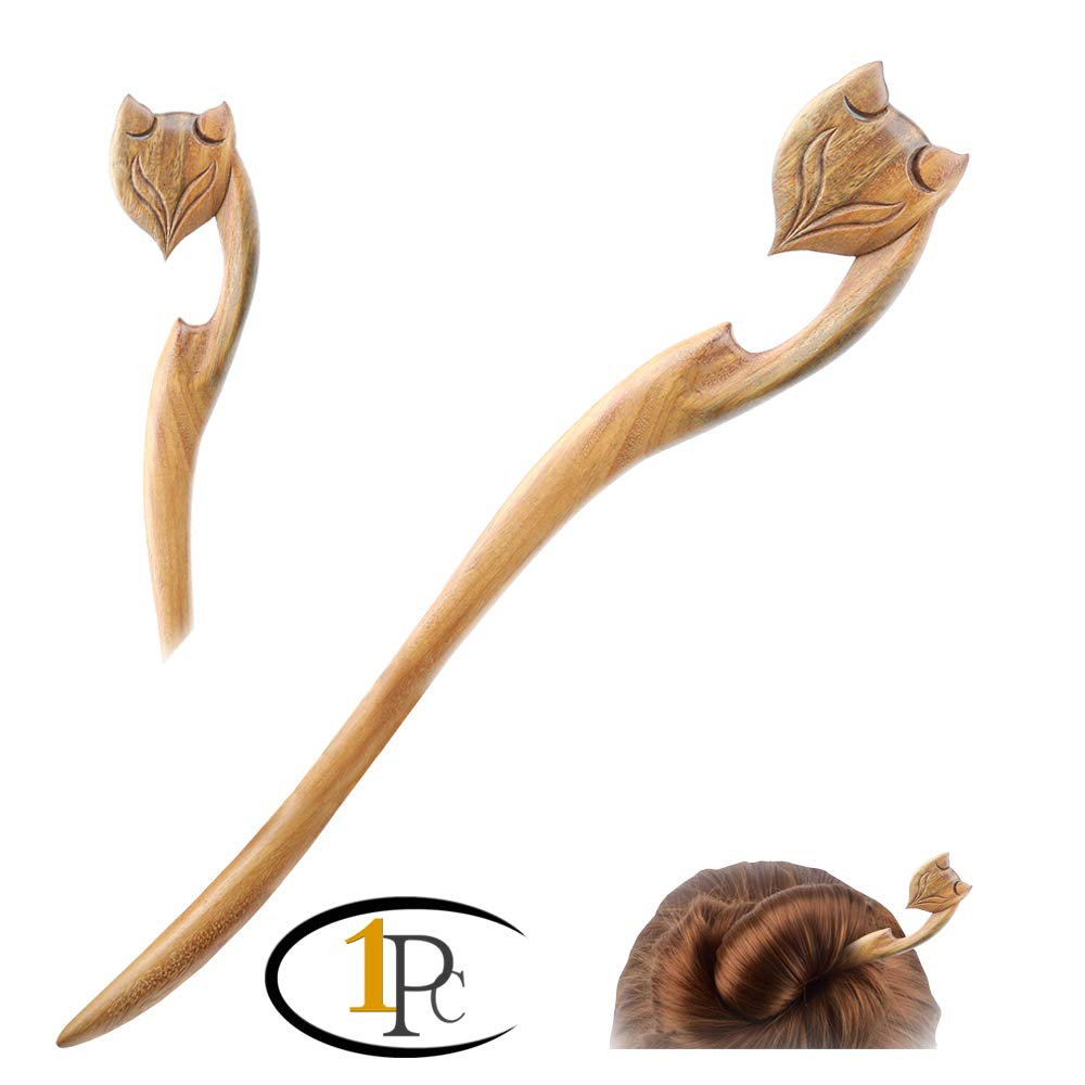 Apparel Accessories 1pcs Retro Hand-carved Chinese Ethnic Natural Stone Hair Stick Flower Sandalwood Wood And Natural Fragrance Hair Stick Best Gift