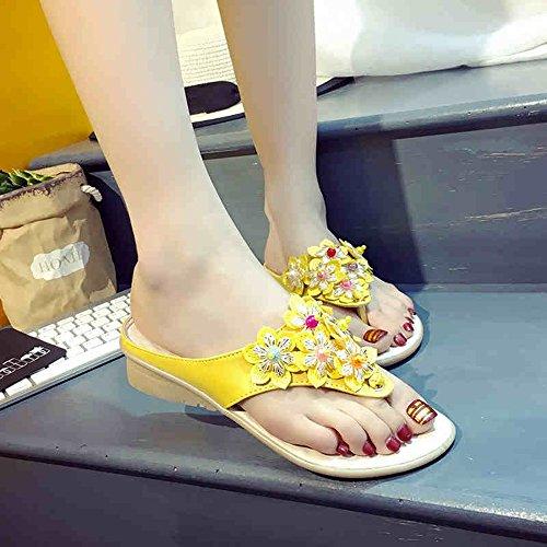 Slippers HAIZHEN Women shoes Women's Spring Summer Sandals/Comfort PU Low Heel White Blue Yellow for Women (Color : White, Size : EU39/UK6.5/CN40) Yellow