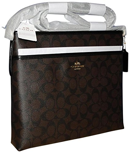(Coach Signature Coated Canvas File Bag in Brown & Black)
