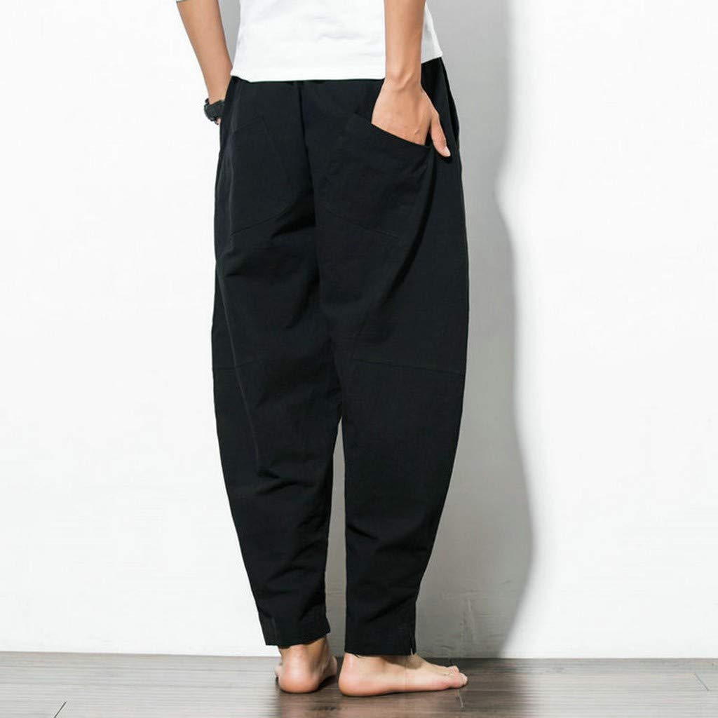 iLXHD Mens Long Pants Summer Wide-Legged Pants Fashion Comfortable Pant