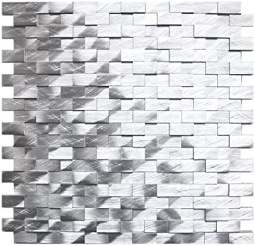 3d Raised Brick Pattern Aluminum Mosaic Tile Kitchen Backsplash Bath Backsplash Wall Decor Fireplace Surround Ceramic Tiles Amazon Com