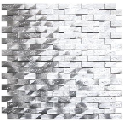 Amazon 40D Raised Brick Pattern Aluminum Mosaic Tile Kitchen Interesting Brick Pattern Tile