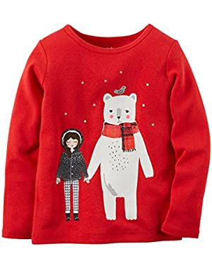 Little Girls Winter Friends Holiday Tee (2T, Red)