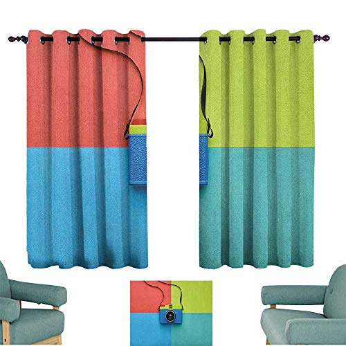 "WinfreyDecor Pastel Bedroom Curtain Retro Style Fashion Film Camera on Colorful Backdrop Hipster Pop Urban Accessories Home Garden Bedroom Outdoor Indoor Wall Decorations 55"" Wx39 L Multicolor from WinfreyDecor"