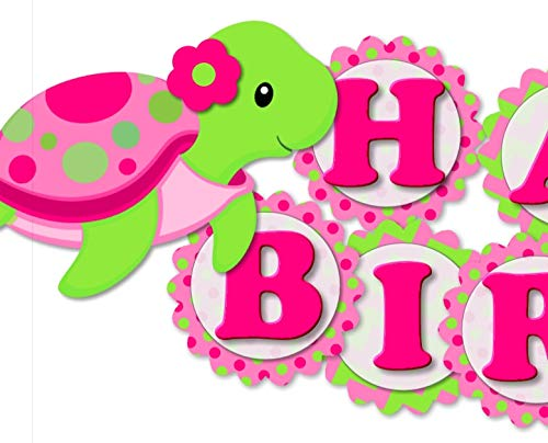 Turtle Birthday Banner Party Decoration Supplies for Girl -