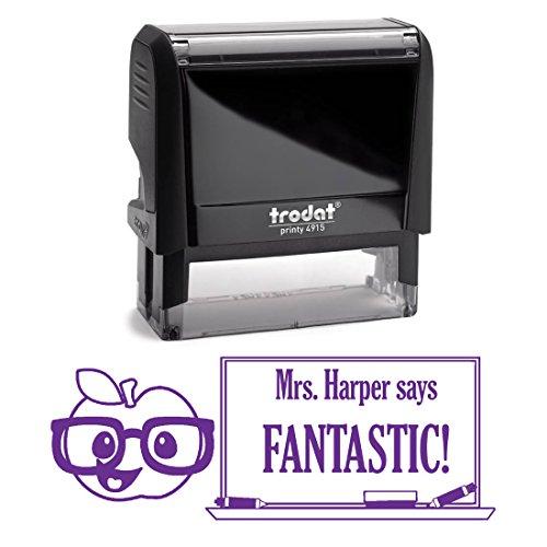 Purple Ink, Apple Wearing Glasses Fantastic Teacher Stamp...