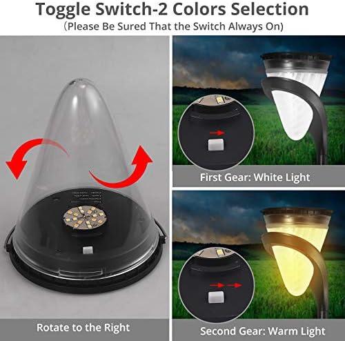 Justech 2PCS Focos Luz Solares de Pared Color Seleccionable 3500K Cálido / 6500K Blanco Iluminación Luz Solar Exterior Encendido/Apagado Automático 3 Métodos de Instalación para el Patio Jardín etc