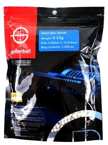 0.23g GoldenBall ProSlick Seamless Airsoft BBs - 3000rd BAG
