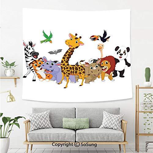 Kids Wall Tapestry,Colorful Jungle Animals Hippo Bat Parrot Giraffe Zebra Rhino Panda African Safari Themed Decorations Decorative,Bedroom Living Room Dorm Wall Hanging,92X70 Inches,
