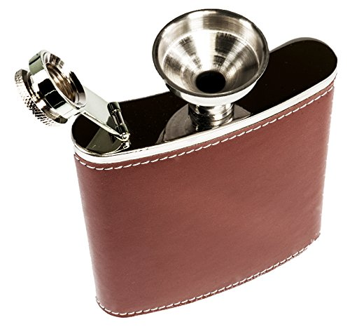 Pocket-Hip-Flask-7oz-Leather-with-Funnel-Set-for-Liquor-for-Men-188-Stainless-Steel-with-Premium-Brown-Leather-Wrapped-Cover-and-100-Leak-Proof-SizeDesign-Discrete-Fit-Includes-Gift-Box