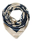 corciova Women's Large Satin Square Silk Feeling Hair Scarf 35 x 35 inches Beige Flowers Charcoal