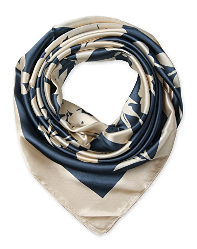 corciova-womens-large-satin-square-silk-feeling-hair-scarf-35-x-35-inches-beige-flowers-charcoal