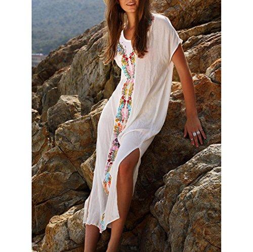 donna donna mare estate spiaggia Bianco estivo donna pizzo lungo Costumi lungo vestito vestiti bagno donna spiaggia vestito donna Copricostume beautyjourney donna da copricostume 1PdxqXX