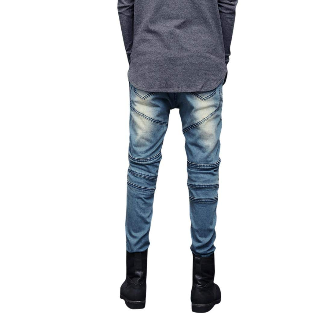 Willsa Mens Pants Skinny Stretch Denim Pants Pleated Ripped Freyed Slim Fit Jeans Trousers