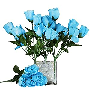 84 Silk Buds Roses Wedding Flowers Bouquets Wholesale Supply for Centerpieces (Turquoise) 90