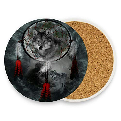 Danger Animal Wolf Dreamcatcher Coasters, Protection for Granite,